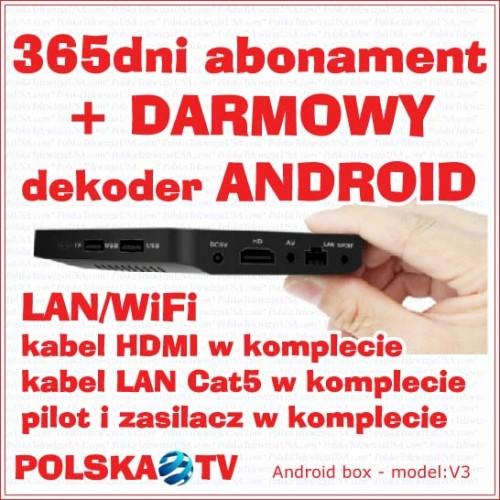 Abonament 365dni + DARMOWY dekoder Android